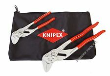 """Knipex 2pc Plier Wrench Set 9K0080109US 7"""" 10"""" Adjustable Pliers Spanners Pouch"""
