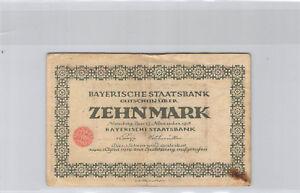 Allemagne Bavière 10 Mark 15.10.1918 Nuremberg n° 245512A