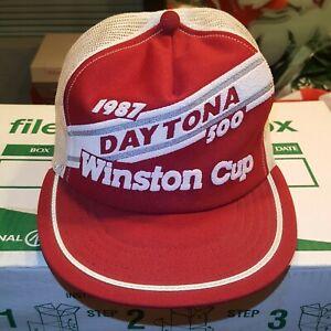 NWT ~ VTG 1987 Daytona 500 Nascar Winston Cup Mesh Snapback Trucker Hat Cap USA