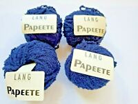 LOT 4 balls Lang Papeete Yarn Cotton Dark Blues Made in Switzerland