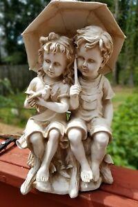 "12"" Boy & Girl Sitting On Tree Stump Under An Umbrella Garden Statue Decor"