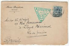 SPAIN 1919 CENSORED cover *BARCELONA-RIO DE JANEIRO BRAZIL* with triangular cd