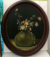Vintage Print in Oval wood frame Still Life dying  Roses Rudolf Lesch Fine Arts