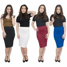 Jolie Max Women Pencil Skirt Midi Stretch Bodycon Skirt 8-20 Casual Officewear