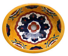 #093 SMALL BATHROOM SINK 16x11.5 MEXICAN CERAMIC HAND PAINT DROP IN UNDERMOUNT