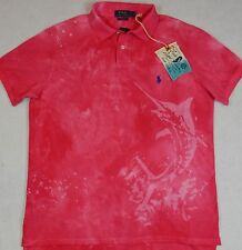 Polo Ralph Lauren Shirt Custom Fit Pink Marlin Dip Dyed Mesh M Medium NWT $98