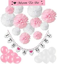 "Babyshower- Party Set- Papier Pompons-Girlande ""It´s a girl""-Luftballons-Schärpe"