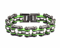 Men's Stainless Steel Double Link Black Green Bike Chain Bracelet USA Seller!