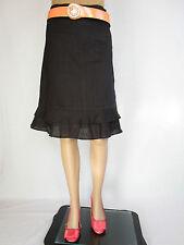 H&M Womens Casual Fashion Black Ramie Knee Trumpet Ruffle Skirt sz 8 EU34 AP78