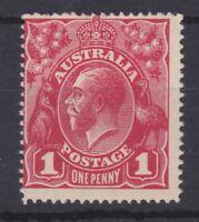 G441) Australia 1914 KGV 1d Carmine-red single wmk smooth paper die II,