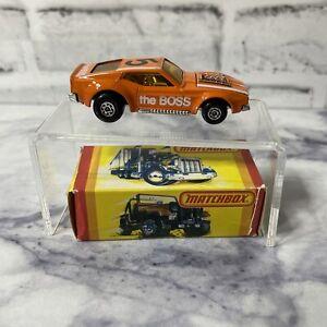 Matchbox Ford Mustang Boss Cobra 1972 NEW in Original Box England Vintage Orange