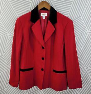 Talbots size 10 Tweed Blazer Jacket 100% Wool Black Velvet Trim Red Professional