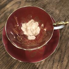 Aynsley cabbage rose burgundy gold  C 631 tea cup and saucer - RARE