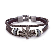Fashion Leathers Bracelets for Men Women Vintage Leaf Weed Charm Bracelet Bangle Brown