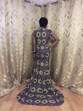 african print long dress with a slit