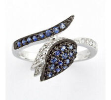 Diamond and Sapphire Snake Ring in 14k White Gold