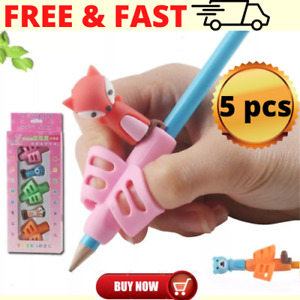 5pcs Children Pencil Tools Holder Cartoon Silicone Pen Grip Beginner Writing Aid