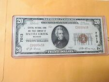 1929 $20 CENTRAL NATIONAL BANK AND TRUST COMPANY OF BATTLE CREEK, MICHIGAN