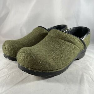 Dansko Size 37 / 6.5-7 Felt Wool Clogs Solid Sage Green