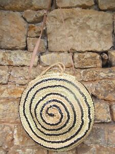 Moroccan Handmade Straw Beach Bag with black sequins