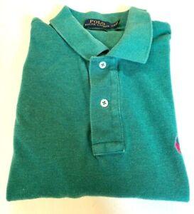 Polo Ralph Lauren 100% Cotton Polo Shirt Men's Large Classic Fit Teal Green