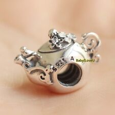 925 Sterling Silver Enchanted Tea Pot Charm Clear CZ Enamel Bead F Bracelet 2018