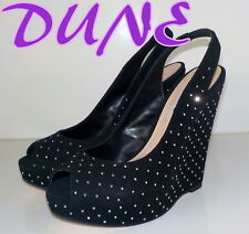 "Amazing ""DUNE"" Black  Suede Leather  Peep-Toes WEDGE  Shoes UK 5   EU 38  £105"