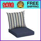 Navy Stripe 45 x 22.75 In. Outdoor 2-Piece Deep Seat Cushion