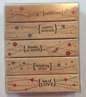 Hero Arts Rubber Wood Mount 5 pc Stamp Set Wavy Design Borders Hearts Flowers