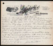 South Bend IN c1890 - A C Staley Wool Underwear - history Letter Head Rare