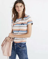 New Madewell XS Embroidered Rainbow Striped Tee T Shirt Boy Fit Stripe NWT