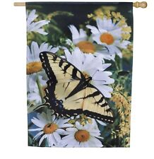 Butterfly & Daisy Daisies Goldenrod Summer Lg Evergreen Flag