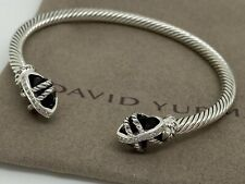 David Yurman Sterling Silver 4'mm Cable Wrap 10'mm Amethyst & Diamond Bracelet