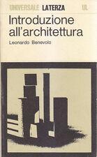 INTRODUZIONE ALL ARCHITETTURA di Leonardo Benevolo 1974 Laterza editore