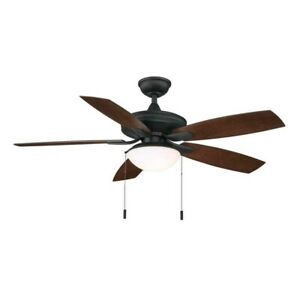 Hampton Bay - Gazebo III 52 in. Indoor/Outdoor Natural Iron Ceiling Fan w/ Light