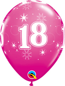 18th Birthday Balloons  x 6 Balloon Pack Pack of 6 Qualatex 18 Sparkle Red Berry