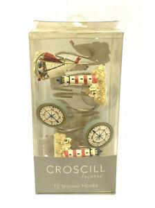 Croscill Home Fashion Blue Nautical Shower Hooks Decorative 1 Dozen Hook Rings