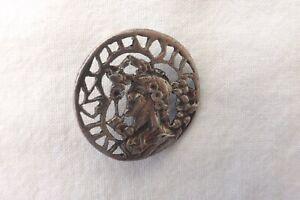 ANTIQUE SOLID SILVER BUTTON ART NOUVEAU MAIDENS HEAD  2.5cm (1050)