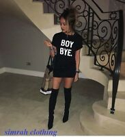 Ladies BOY BYE Tunic Women's Short Black Turn Up Sleeve T-Shirt Dress 8-26
