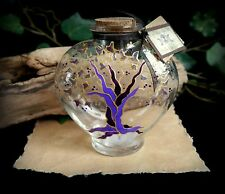 Hand Painted Heart Potion Bottle Tree of Life design Wiccan Pagan Altar