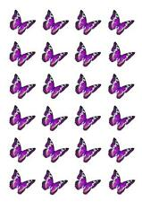 24 Purple Black Butterfly Cupcake Fairy Cake Toppers Edible Rice Wafer Paper