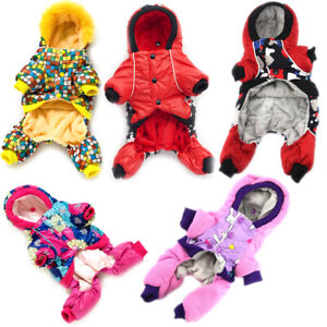 Winter Warm Fleece Dog Jumpsuit Hoodie Jacket Puppy Cat Coat Pet Overalls Outfit