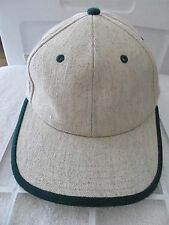 Dog Daze Linen Blend Tweed Like Beige w/ Green Accents Adj Baseball Cap Hat!