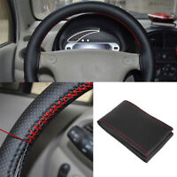 Black+Red PU Leather DIY Car Steering Wheel Cover 38cm With Needle And Thread HC