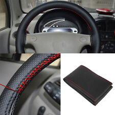 Black+Red PU Leather DIY Car Steering Wheel Cover 38cm With Needle And ThreHEP