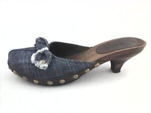 MIU MIU Mules Denim Wood Heels Studs Bow Blue Italy US 6.5/7 $590