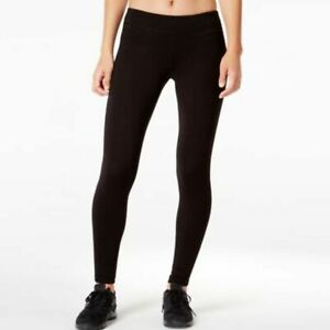 Ideology Womens Black Stretch Active Perforated Ankle Leggings Size Small $24
