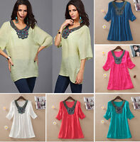 Fashion Womens Embroidery Loose T-Shirts Tops Casual Blouse Clothing Plus Size