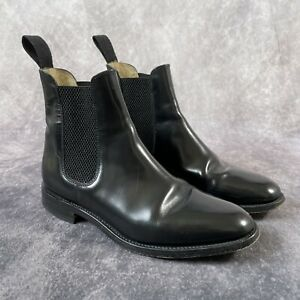 LOAKES Black Leather Slip On Chelsea Ankle Boots 290-B Size 7