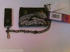 Hogwarts Harry Potter Tri-fold Wallet Black Silver Brand New with Tags Chain